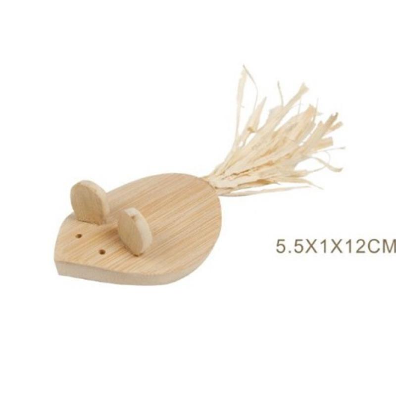 木製老鼠貓玩具5.5x1x12cm