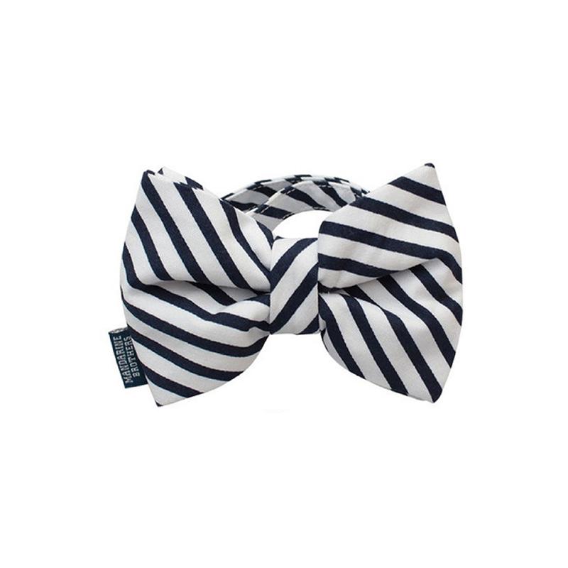 時尚領結 (藍白間條)頸圍約23-36cm