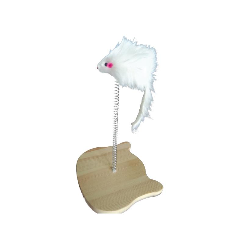 彈簧鼠實木貓玩具18x16x30cm